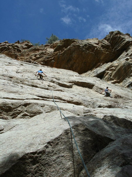 Phil Persson entering the crux.  You can JUST combine the pitches with a 70m rope. 4-2-11.