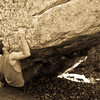 "Aaron James Parlier on ""Austins Seam""(V7) at the FEA Boulder."