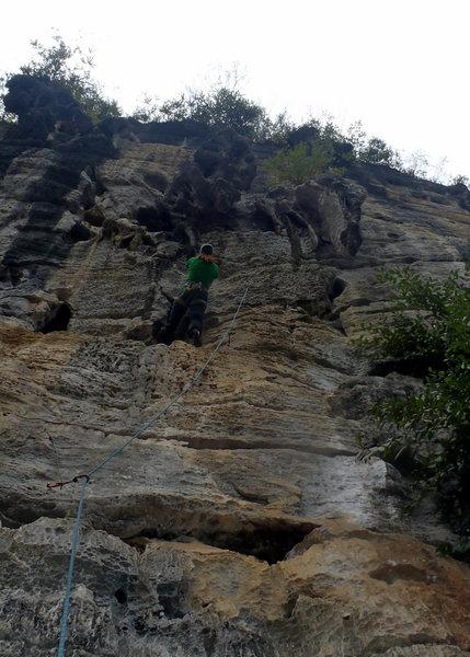 Rock Climbing Photo: Anja headed up the climb I call tuffa seat Yangshu...