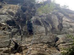 Rock Climbing Photo: Enjoying the tuffa seat. Yangshuo.