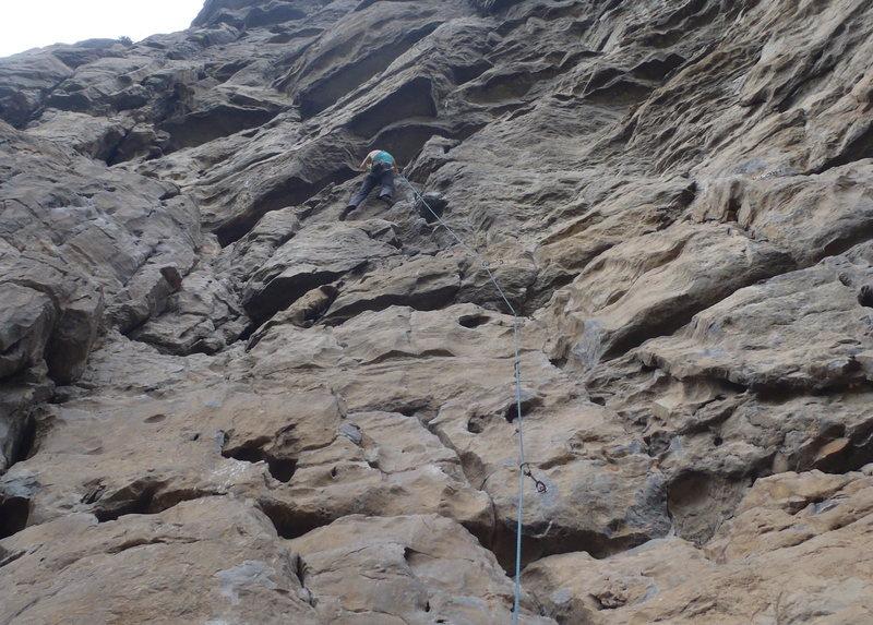 Rock Climbing Photo: Anja on Ten Thousand.  Low Mountain Yangshuo, Chin...