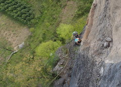 Rock Climbing Photo: Looking down at the belay at the top of pitch 3 as...
