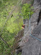 Rock Climbing Photo: Anja following Pitch 4 of the Monkey King.