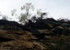 Rock Climbing Photo: Rappelling down across Pitch 4.