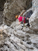 Rock Climbing Photo: Anja leading Scary Mary.  Chicken Cave Yangshuo Ch...