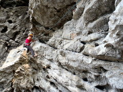 Rock Climbing Photo: At the end of Scary Mary at the crux.  Yangshuo Ch...