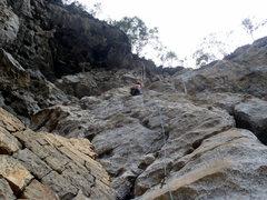 Rock Climbing Photo: High up on Clean Jean.  Yangshuo China