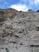 Rock Climbing Photo: Jon pulling up the rope to rappel down Redolence. ...