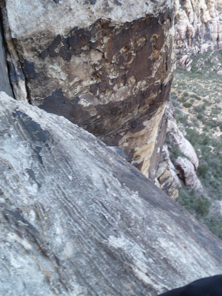This ledge off to the right is the home of the intermediate rappel anchor.