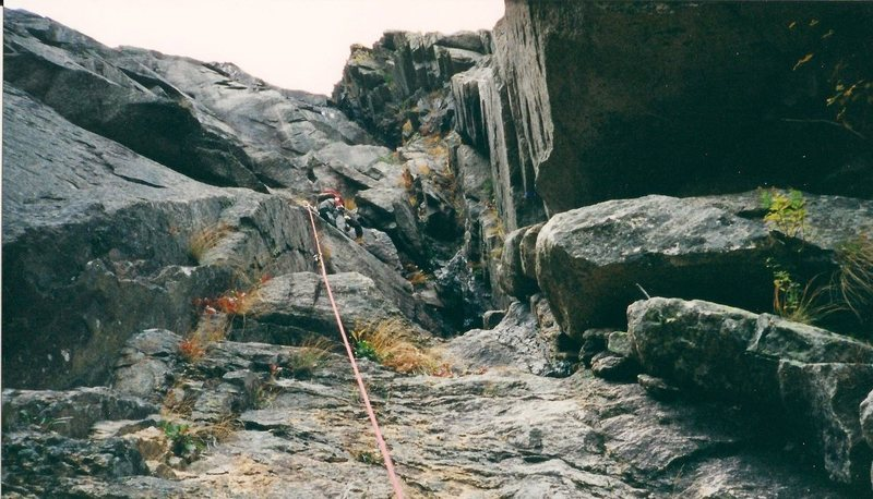 Rock Climbing Photo: Scanned photo. First pitch FFA and I was on the le...