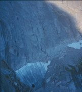 Rock Climbing Photo: Looking down the first portion of the route, scram...