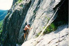 Rock Climbing Photo: Scanned photo. Craig near the standard finish.