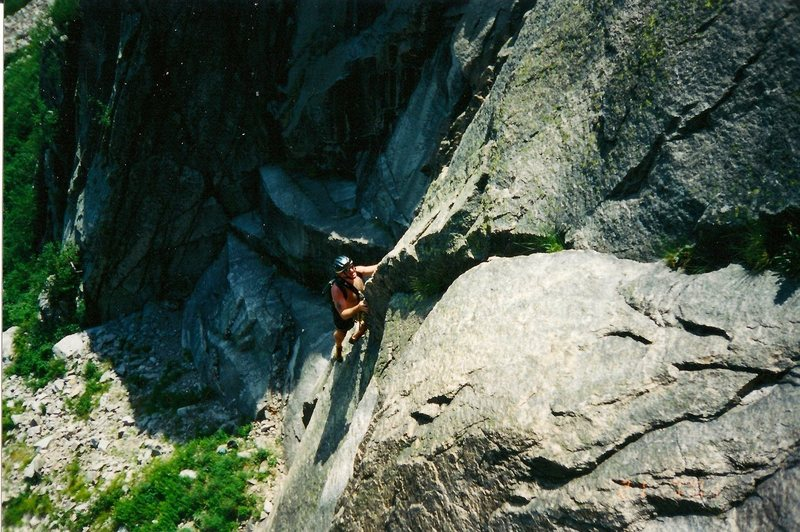 Rock Climbing Photo: Scanned photo of Craig on the crack face section.