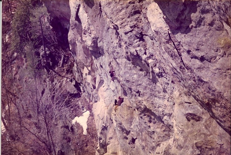 Scanned photo of Jay Golden and I doing the first ascent. Photographer, Tom Bowker.