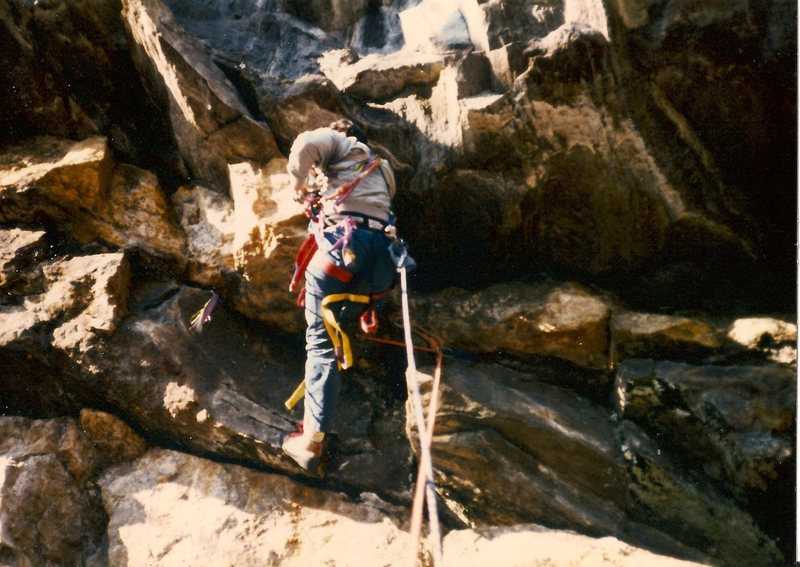 Scanned photo of FA of the aid route 'Tsunami'. Aid isn't all 'aid' climbing. This part was though and the escape or exit higher up was free climbed. Photographer, Tom Bowker