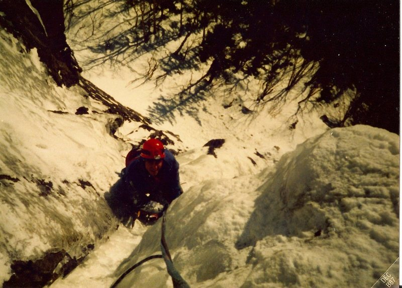Scanned photo of Jim Shimberg going up the 2nd pitch.