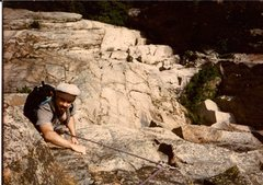 Rock Climbing Photo: Scanned photo of myself on our FFA. This is the 2n...