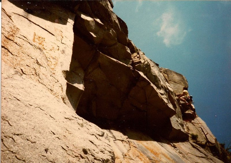 Scanned photo of Ted leading 2nd pitch. Ted is almost at the same spot as I am photographed on the 2nd pitch.