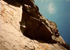 Rock Climbing Photo: Scanned photo of Ted leading 2nd pitch. Ted is alm...