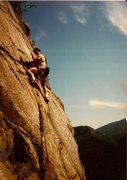 Rock Climbing Photo: Scanned photo of Ted starting 2nd pitch. The climb...