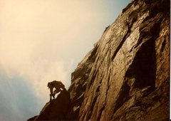 Rock Climbing Photo: Scanned photo of Ted leading the third crux pitch....