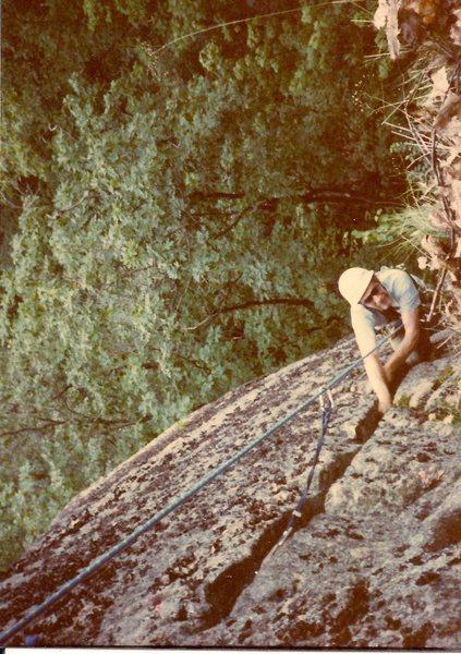 Rock Climbing Photo: Scanned photo of Bill Hardigan on the FA.
