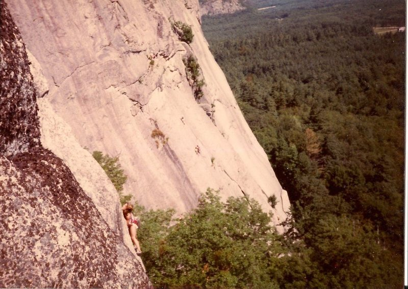 Scanned photo. Lynn Hill leading the 2nd pitch. Mid 1980's