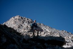Rock Climbing Photo: Looking up the route, from the large ledge that of...