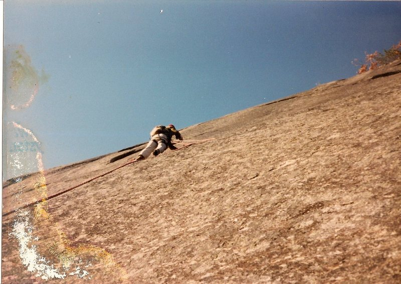 Rock Climbing Photo: Scanned photo of myself working on bolting the cli...