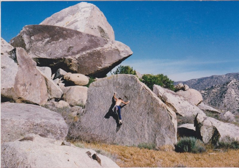 "FA of ""Black Dot"" boulder circa late 1980's"