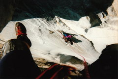 Rock Climbing Photo: Rapping back to the anchor below the Zorro Roofs ....