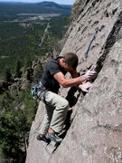 Rock Climbing Photo: Wade Forrest, done with the traverse crux, and clo...