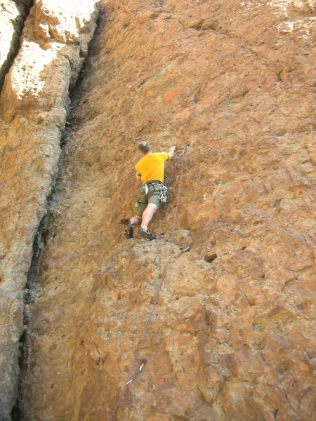 Rock Climbing Photo: Louie ponders the next moves from the pedestal on ...