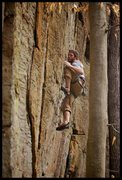 Rock Climbing Photo: Matt Kuehl steps high through the moves down low o...