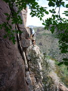 Rock Climbing Photo: traversing to the start of Batteries Not Included ...