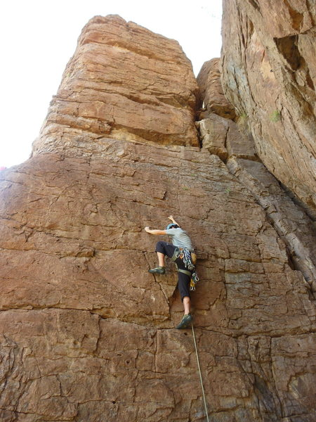 Rock Climbing Photo: Thin start leads to steep jugfest above