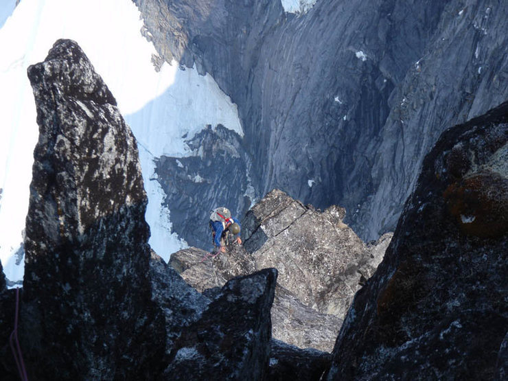 Blake Herrington approaching the summit of the Main Tower