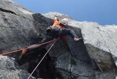 Rock Climbing Photo: Jason Nelson leads the crux roof of the Iron Curta...
