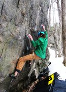Rock Climbing Photo: Tim on the terrible right hand side-pull/crimp/sma...