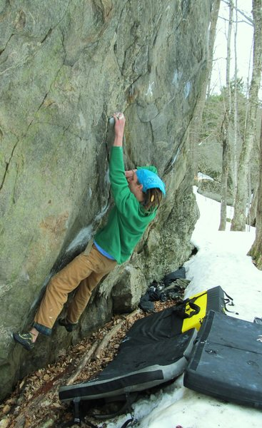 Rock Climbing Photo: Tim on the very extended part of the route. Tim is...