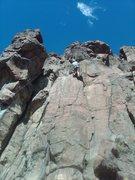 Rock Climbing Photo: Doug finishing the crux layback sequence near the ...