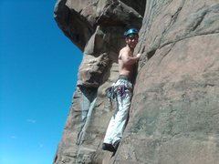 Rock Climbing Photo: Mark enjoying the record warm April day halfway up...