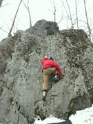 Rock Climbing Photo: Hand foot match on top on starting ramp.
