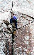 Rock Climbing Photo: Atomic Knee Drop on upper Mt. Scott.