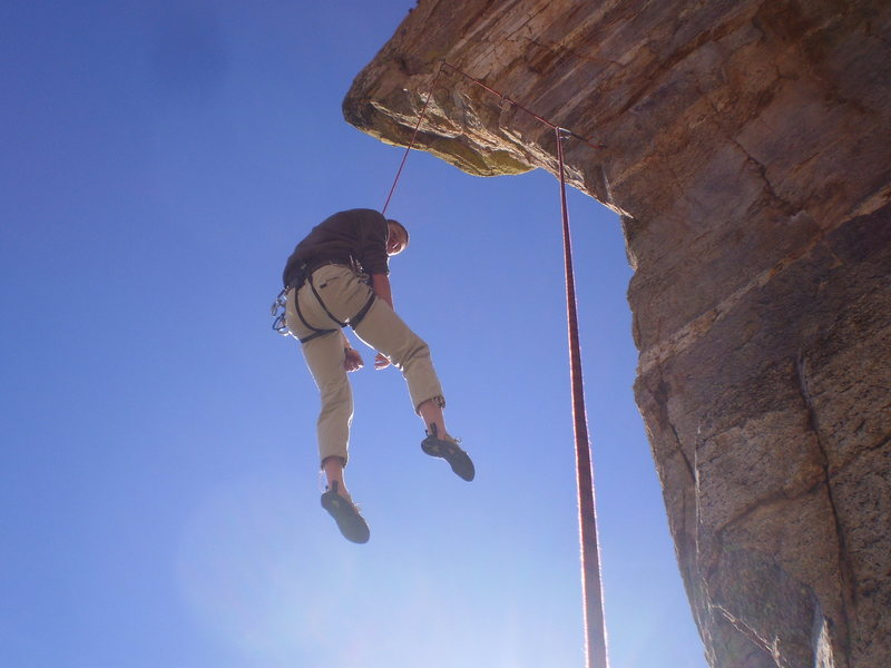 Rock Climbing Photo: taking a nice whipper at last bolt of steve's aret...