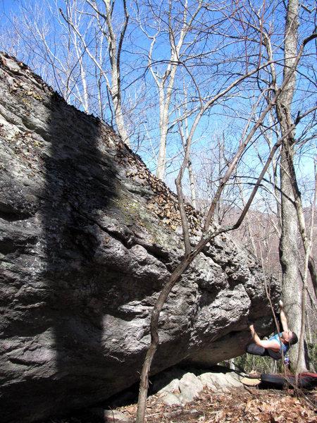 """Matt on """"Pocket Shot""""(V1/2) on the AVP Boulder"""