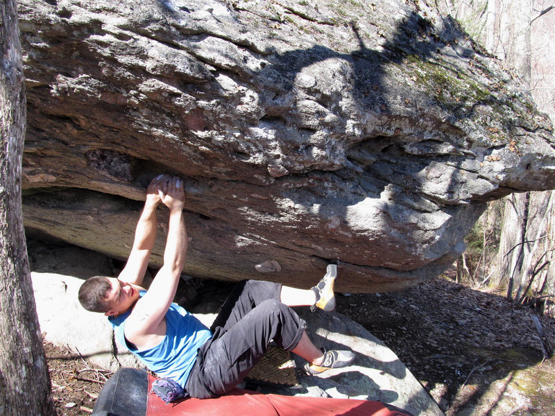 "Rock Climbing Photo: Matt on ""Pocket Shot""(V1/2) on the AVP B..."