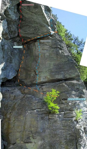 The various upper ampthr routes in the vicinity. Orange line is Doan's Pills. (Ignore the blue line showing finger love continuing up after the traverse). Rap slings located at the dark area near where the blue and orange lines cross and just beyond the orange arrow point (double rope). Also possible to scramble up and off to find another way down if these slings look old/sketchy.