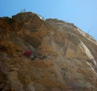 Rock Climbing Photo: EFR catching the first wave for the FA.