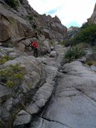 Rock Climbing Photo: Much of the approach in through this rocky dry riv...